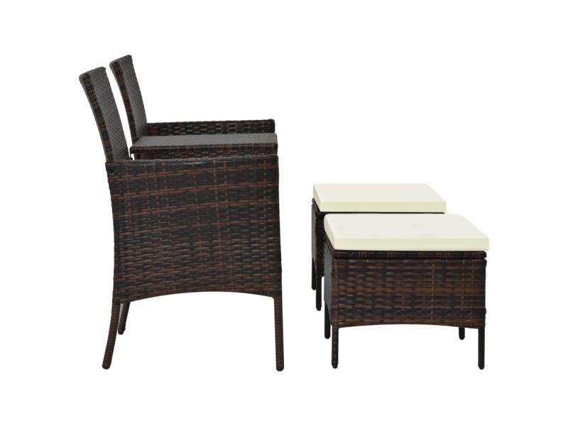 Icaverne - ensembles de meubles d'extérieur ligne jeu de canapés d'extérieur 7 pcs résine tressée marron et blanc