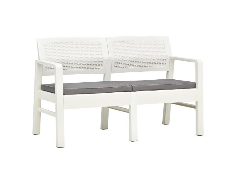 Admirable sièges de jardin ensemble san josé banc de jardin à 2 places et coussins 120 cm plastique blanc