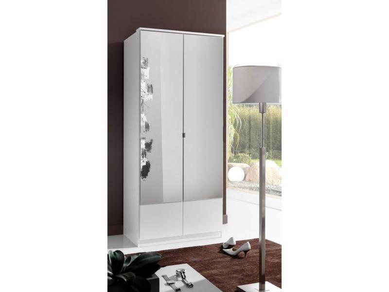 Armoire penderie dingle 2 portes miroirs largeur 91 blanche 20100889290