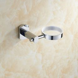 Porte-savons contemporain en laiton chromé avec fixation murale