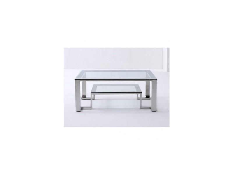 Table basse 100 cm verre et chrome limpide