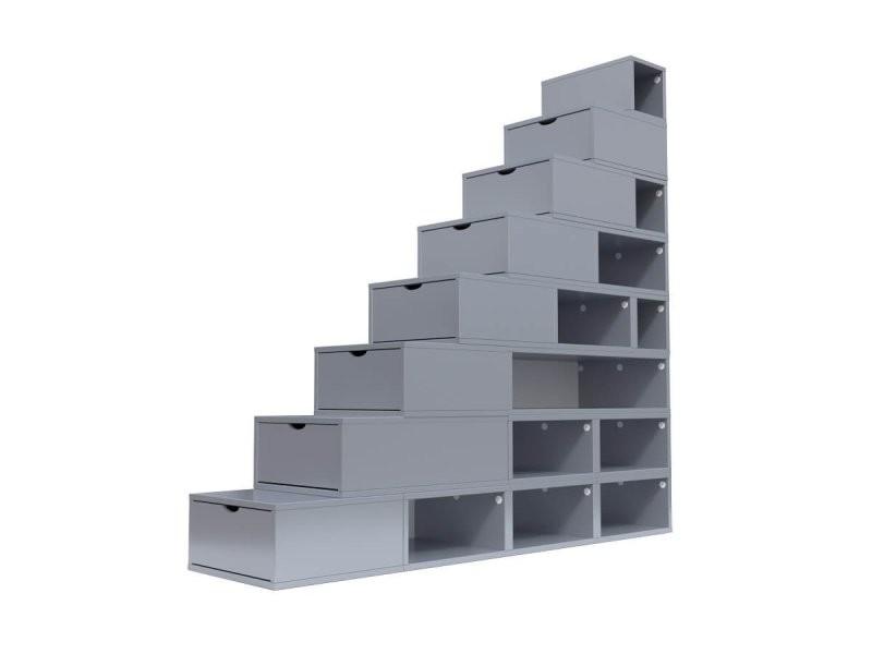 Escalier cube de rangement hauteur 200 cm gris aluminium ESC200-GA