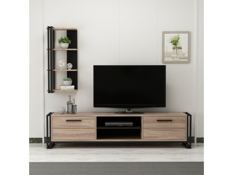 homemania meuble tv lesa moderne avec bibliotheque avec portes etageres pour salon noir en bois metal 192 x 35 x 45 cm