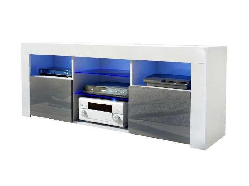 Meuble tv blanc mat / gris laqué + led rgb / 145 x 55 x 35 cm