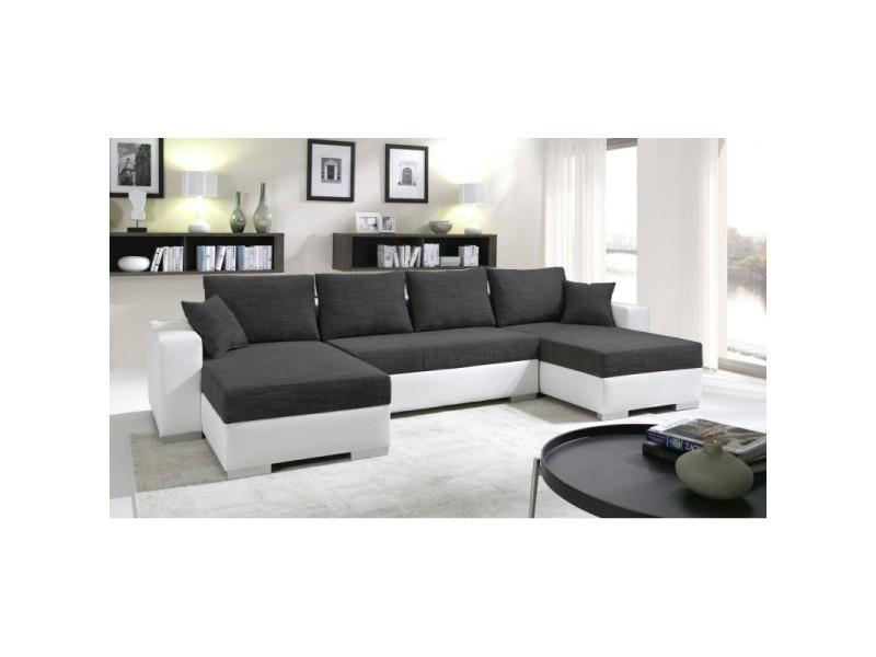 Canapé d'angle convertible en lit enno noir et blanc TENDENCIO