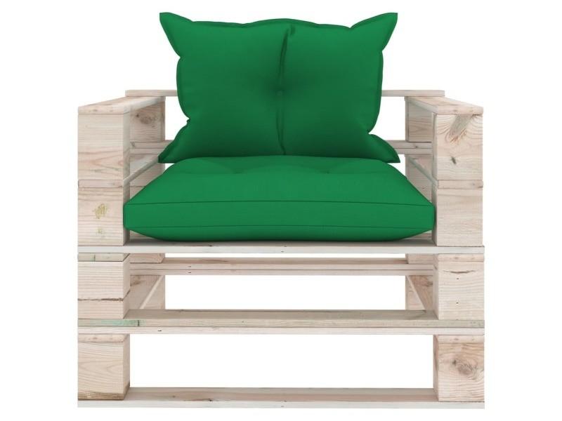 Vidaxl canapé palette de jardin avec coussins vert bois de pin 3066046