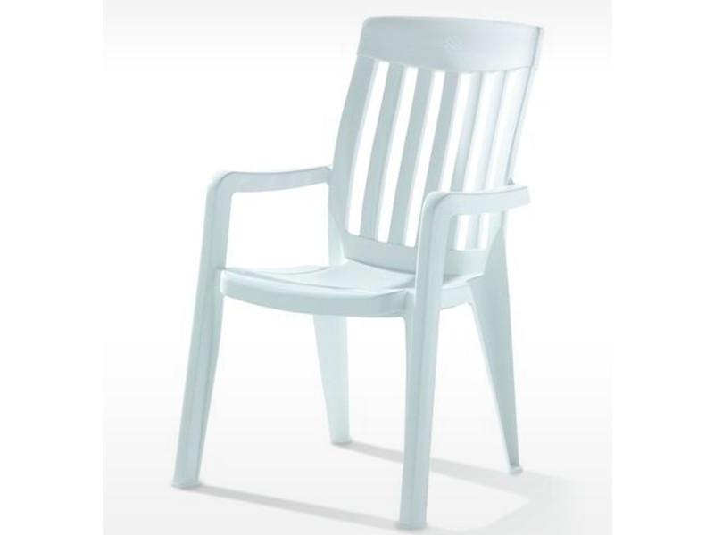 Fauteuil empilable de jardin en résine de synthèse, blanc - 65 x 59 x 92 cm -pegane-