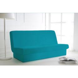 Housse de clic clac bleu turquoise 135x195 avec bande de socle