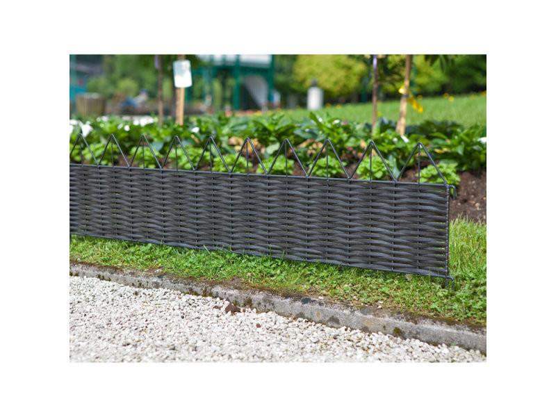 Bordure de jardin en résine tressée et métal 100x25 cm ...