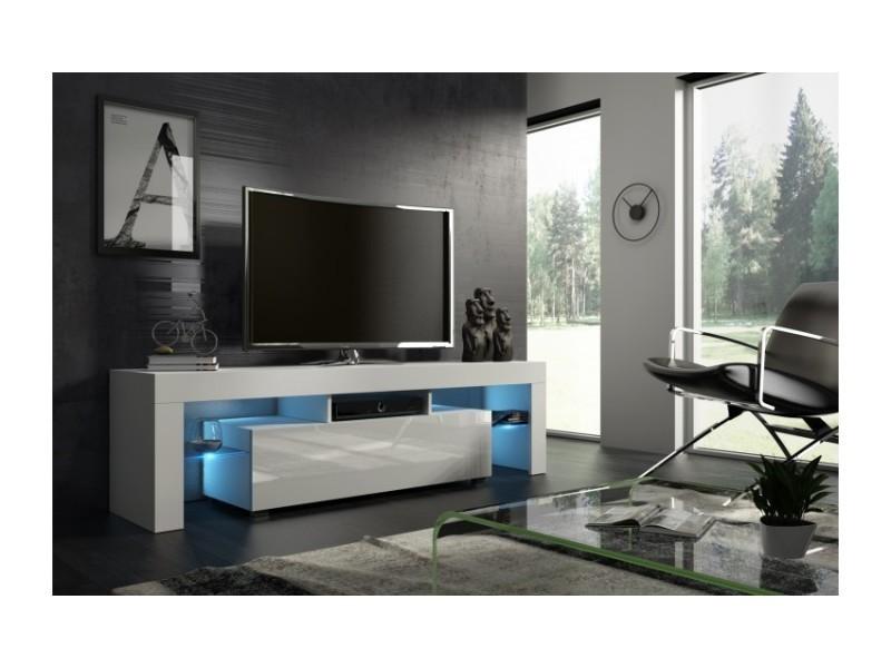 Meuble tv 160 cm blanc mat et façade laquée avec led