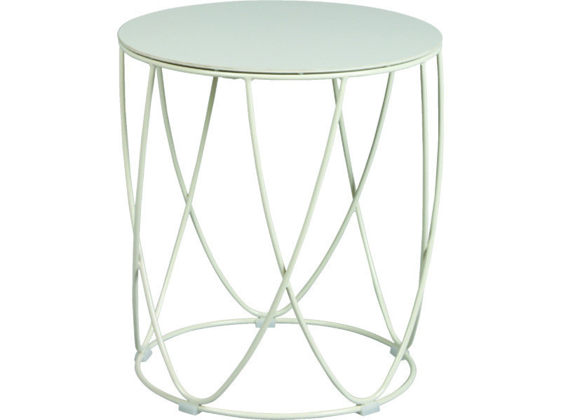 Table basse acier laqué et céramique champagne - dim : diam : 44 x ht 48 cm -pegane-