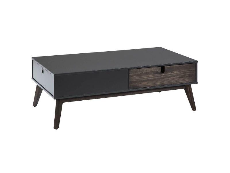 Lily - table basse 2 tiroirs bois gris foncé