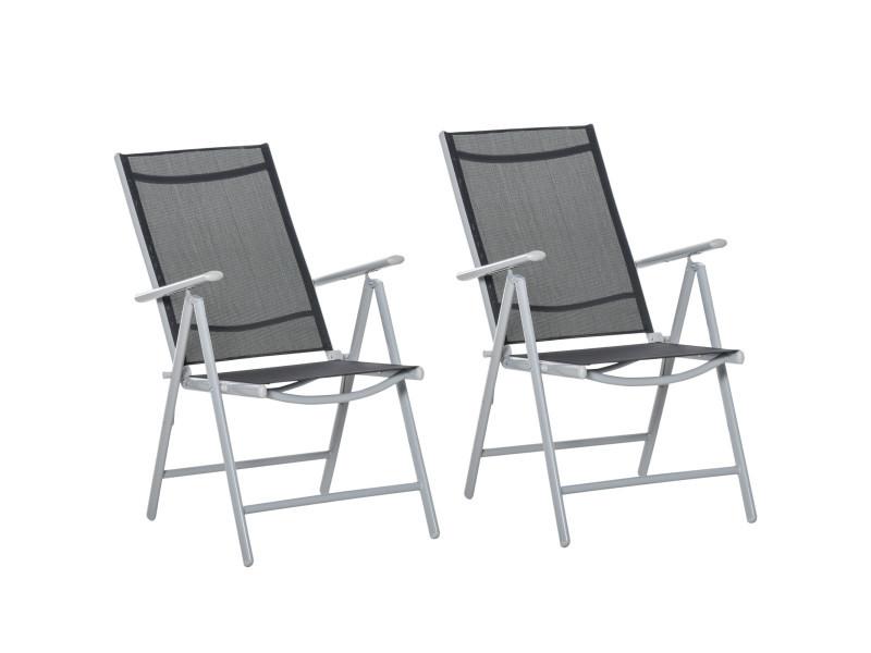 Lot de 2 chaises de jardin pliantes dossier haut inclinable multi-positions accoudoirs alu. Textilène noir
