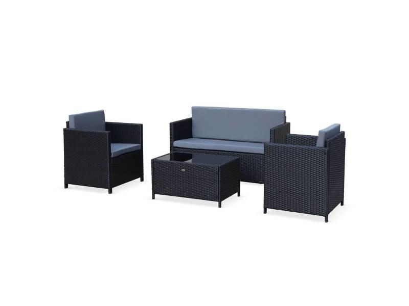 Salon de jardin en résine tressée - perugia - noir. Coussins gris - 4 places - 1 canapé. 2 fauteuils. Une table basse