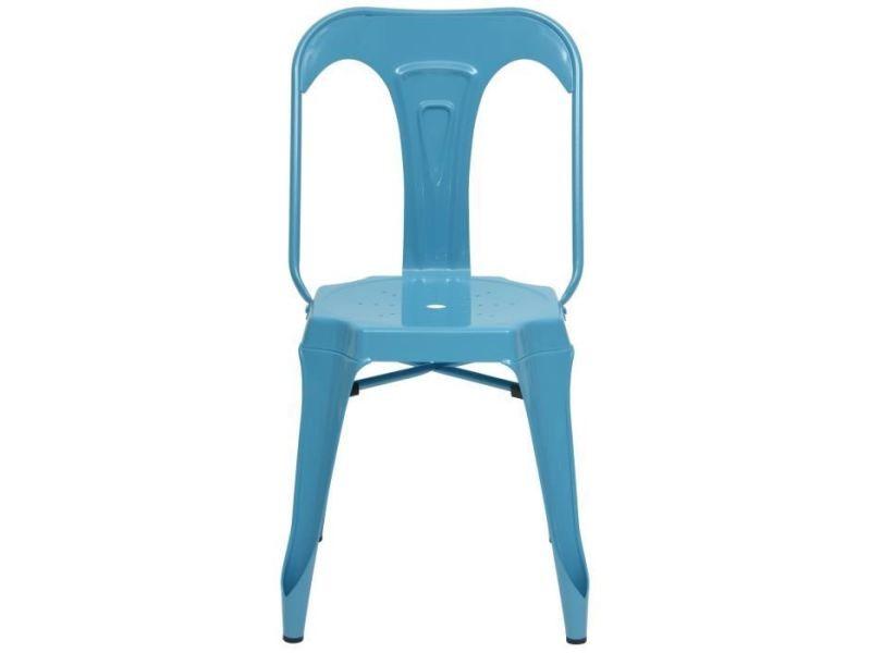 Chaise kraft zoeli lot de 2 chaises de salle a manger - métal bleu satiné - style industriel - l 44 x p 53 cm