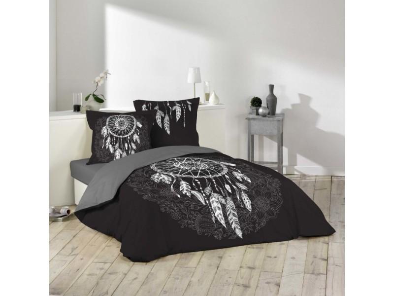 Parure de lit coton 42 fils - ista 240x220 cm 1642560-noir