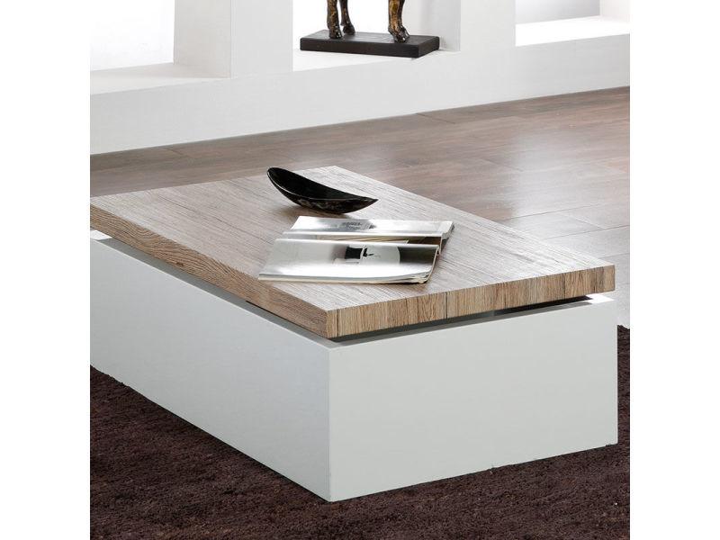 Table Basse Coffre Blanc Et Bois Clair Andorre Vente De