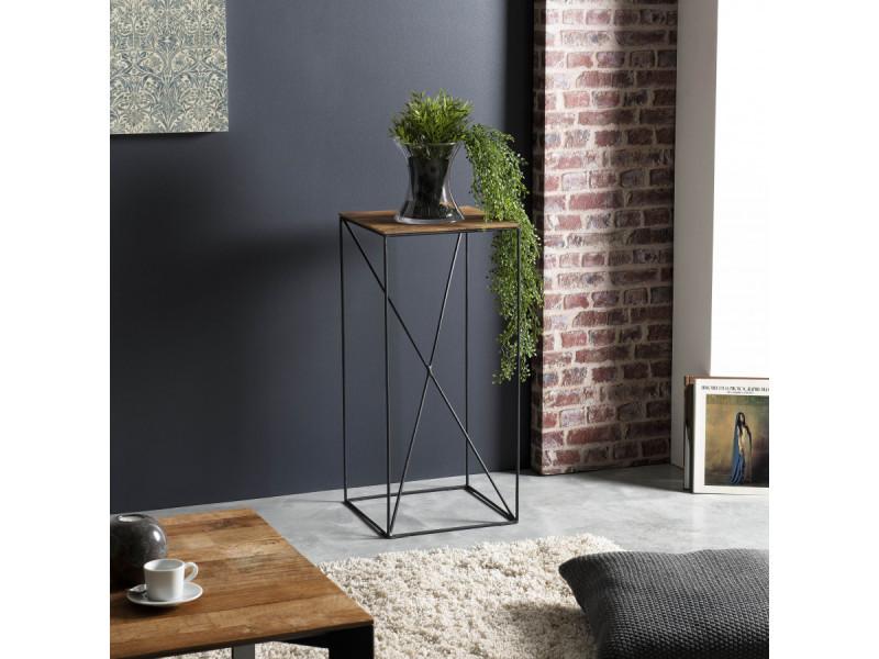 Table d'appoint bois mm teck recyclé et métal