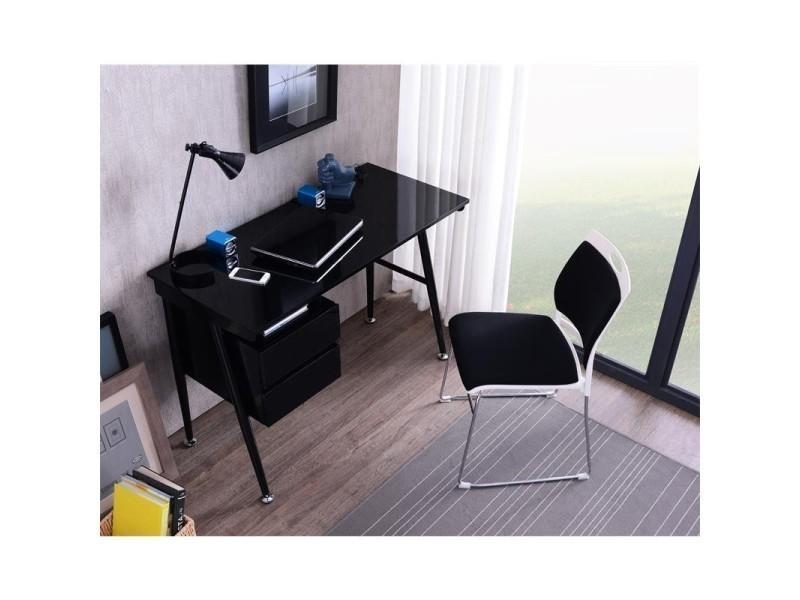 Bureau informatique noir brillant avec tiroirs vente de bureau