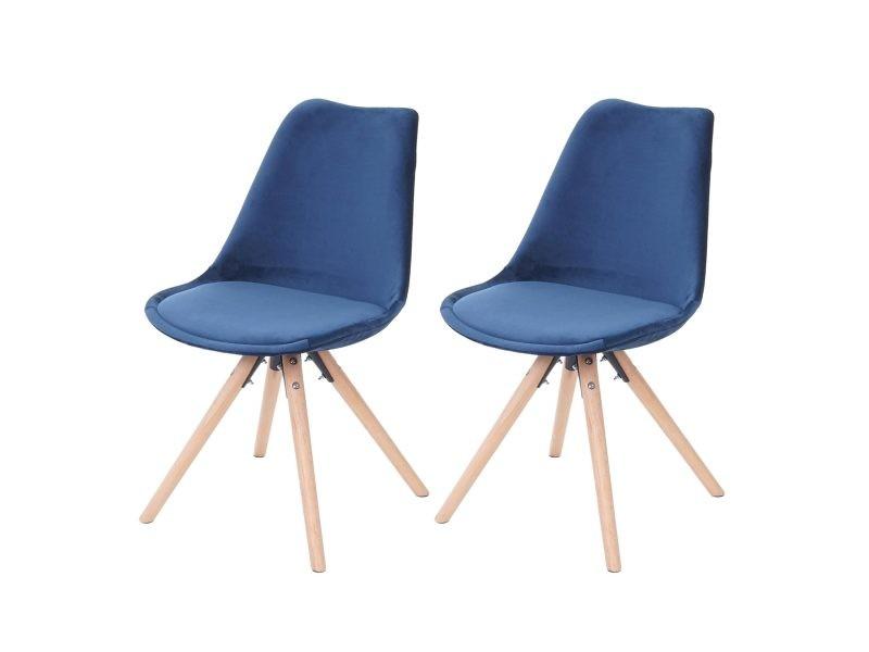 2x Chaise De Sejour Salle A Manger Malmo T501 Design Retro Velours