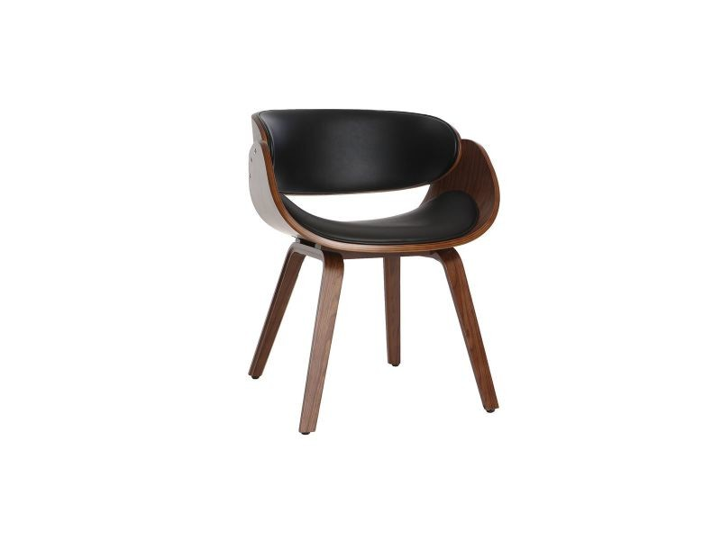 Chaise design noir et bois foncé noyer bent