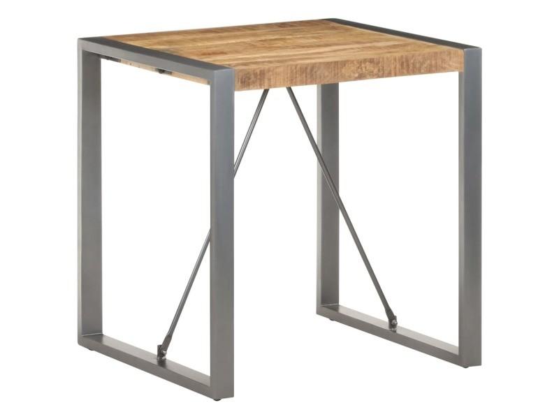 Vidaxl table de salle à manger 70x70x75cm bois de manguier massif brut 321599