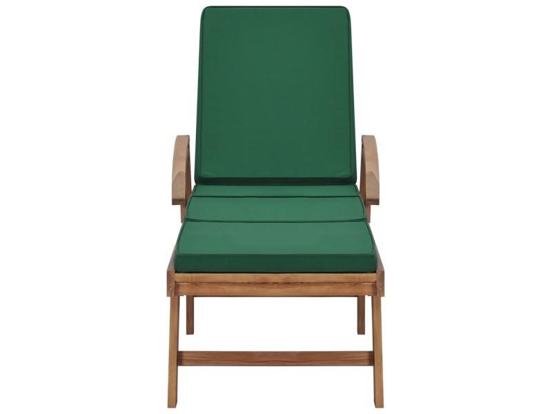 Vidaxl chaise longue avec coussin bois de teck solide vert 48024