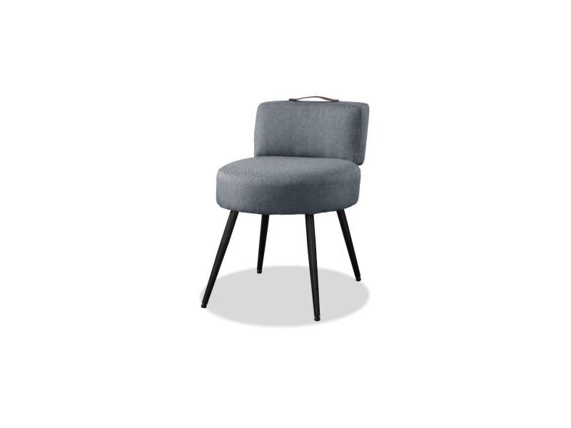 Lilo1 fauteuil pieds métal - tissu gris clair - l 44 x p 45 x h 63 cm