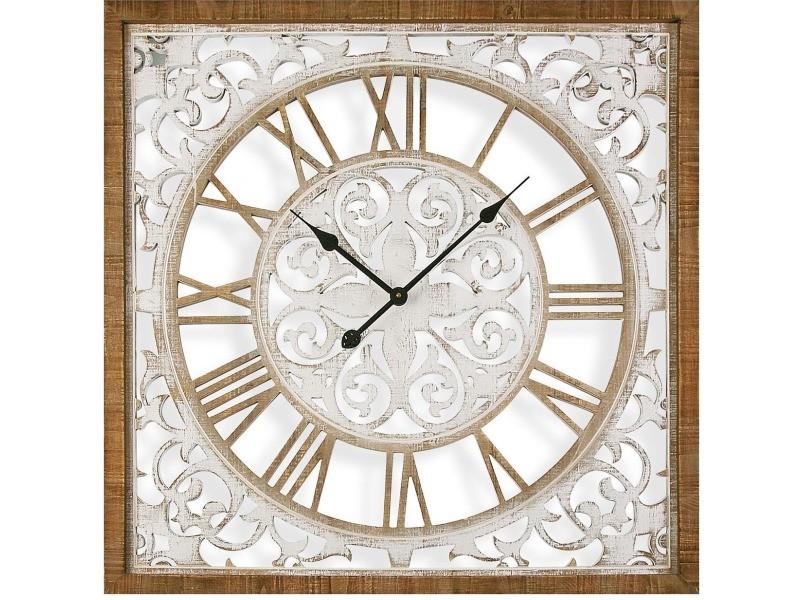 Horloge carrée en bois arabesques 80 cm