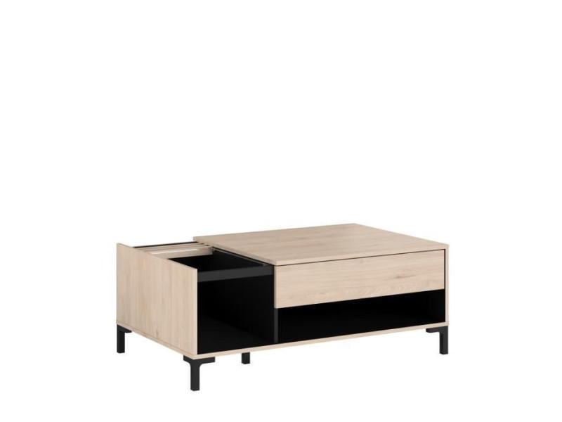 Table basse plateau en verre 1 tiroir - decor chene jackson et noir - lxhxp: l 110 x p 67 x 42.5 cm - tokyo 0394TABA