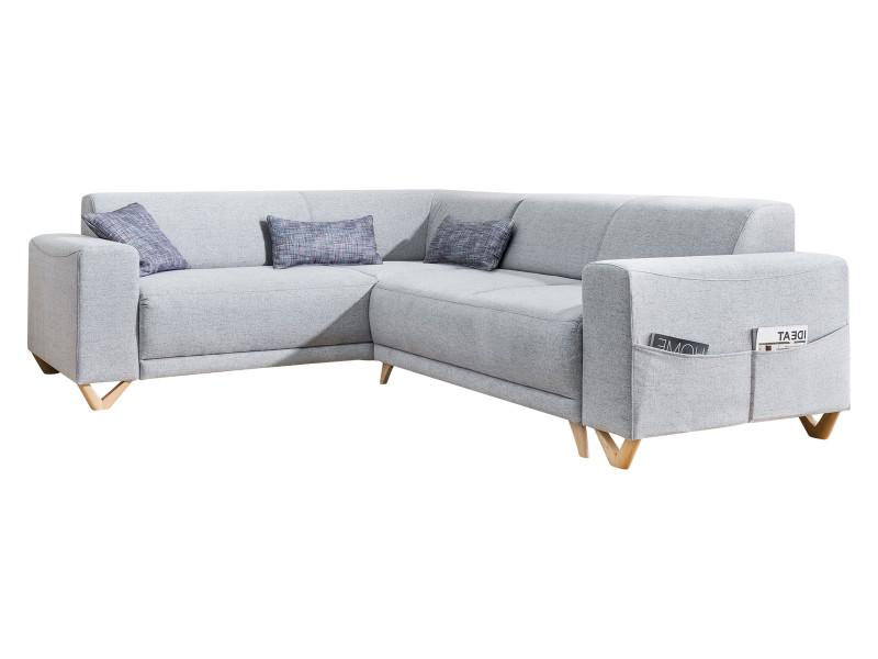 Canapé d'angle panoramique convertible coffre bella gris clair angle gauche