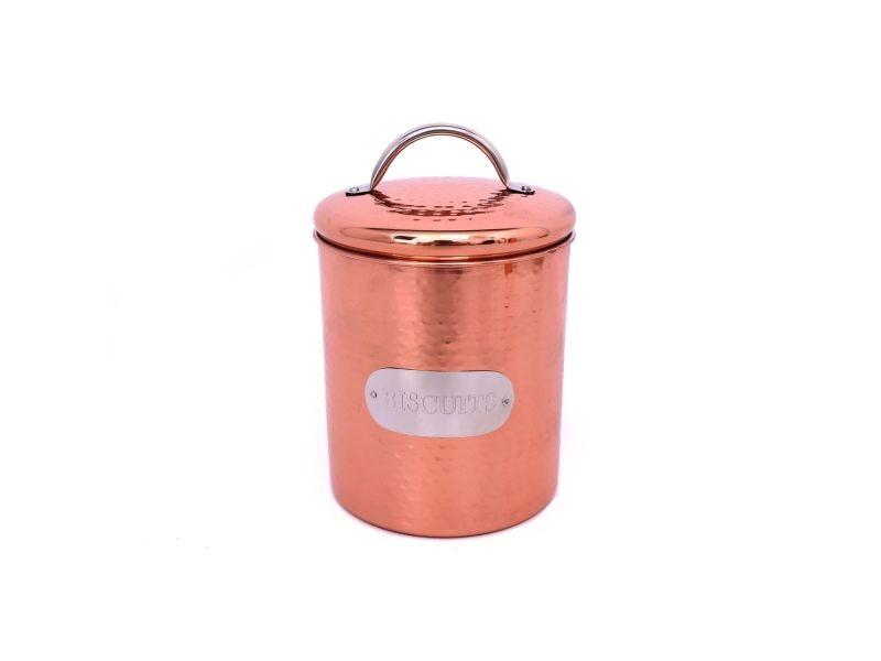 Boîte à biscuits en inox martelé - h. 17,5 cm - couleur cuivrée