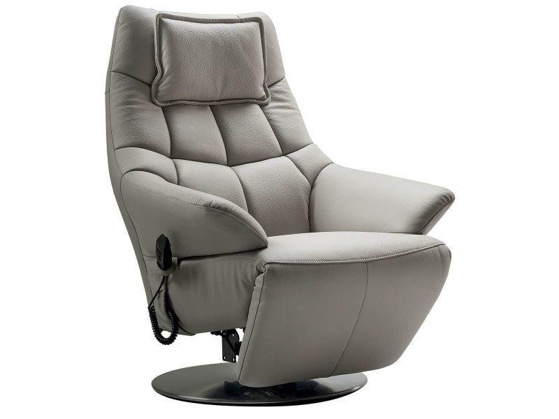 Radona - fauteuil relax electrique cuir gris