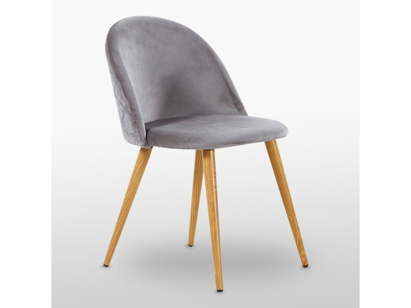 Chaise en velours vintage grise - inspiration scandinave