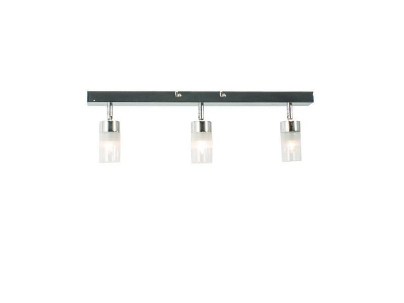 Réglette salle bain 3 spots orientables lanci argent en métal et ...
