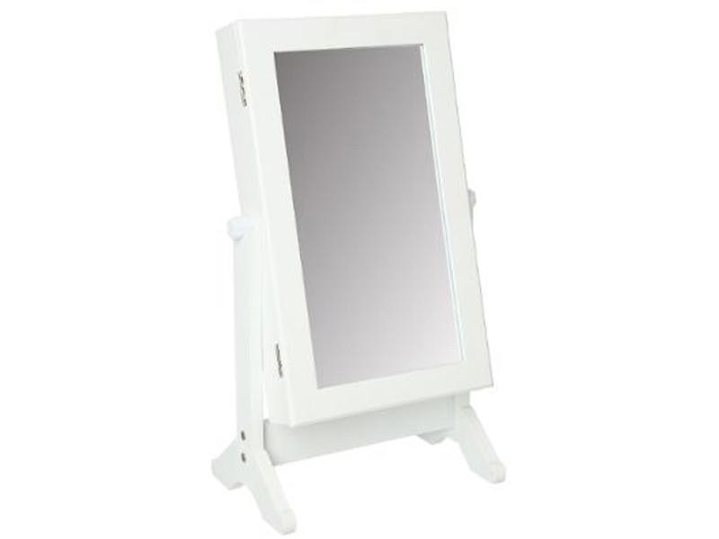 Armoire à bijoux blanche avec miroir - dim :l. 35 x l. 22 x h. 59 cm -pegane