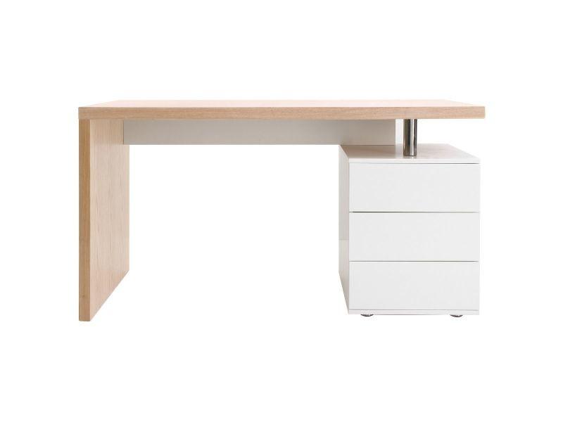 Bureau design en chêne clair et blanc calix vente de bureau