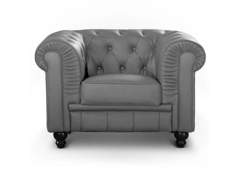 fauteuil gris Vente de Grand COTECOSY chesterfield Conforama vymN8nw0O