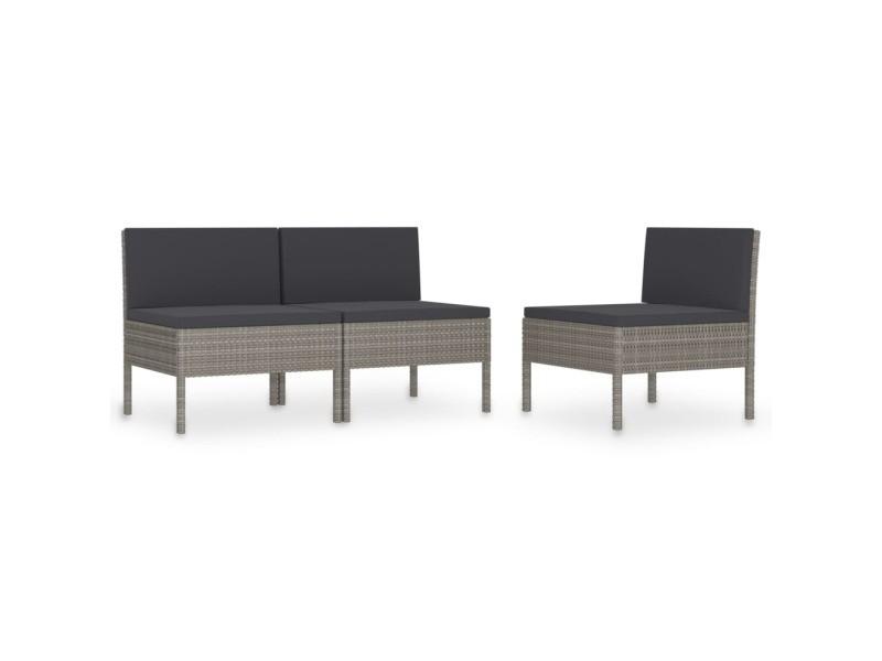 Vidaxl chaises de jardin 3 pcs avec coussins résine tressée gris 310192