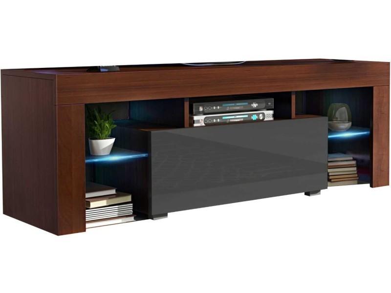 Meuble tv 130 cm noyer et gris led rgb