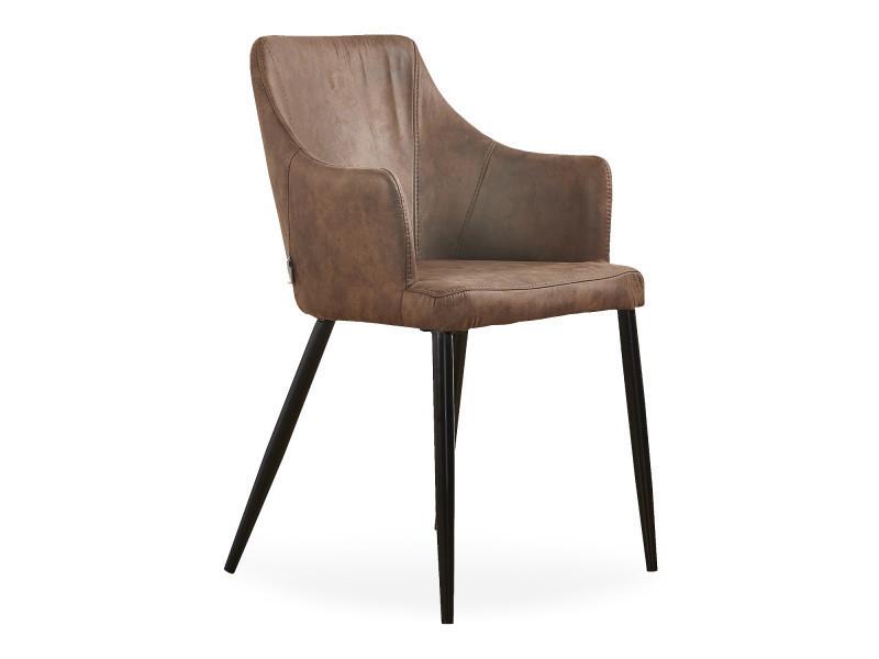 Chaise zarah en simili cuir marron - rembourrée