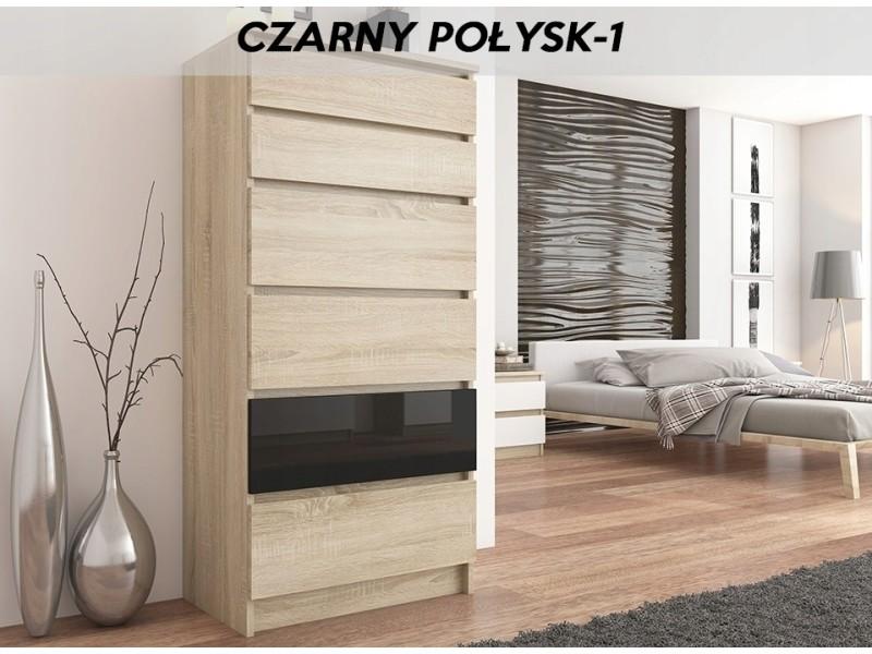 Sofia s1 | commode contemporaine chambre/salon/bureau | 128x70x40 | dressing 6 tiroirs | meuble de rangement scandinave | sonoma/noir laqué