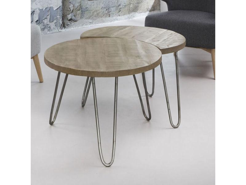 Tables basses modulables en bois massif ø 60 cm basile ii / coloris : chêne