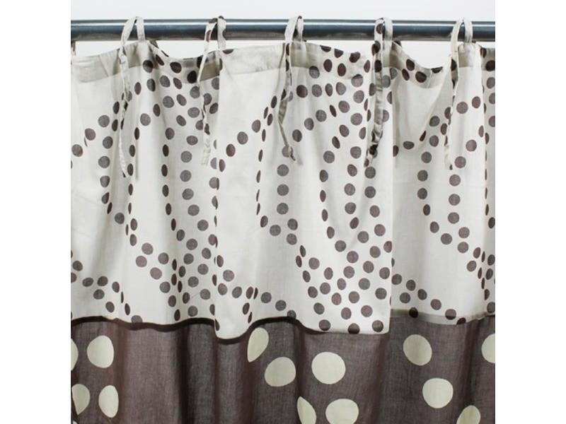 Dots - voilage en coton à motifs pois chocolat et blanc 110x250