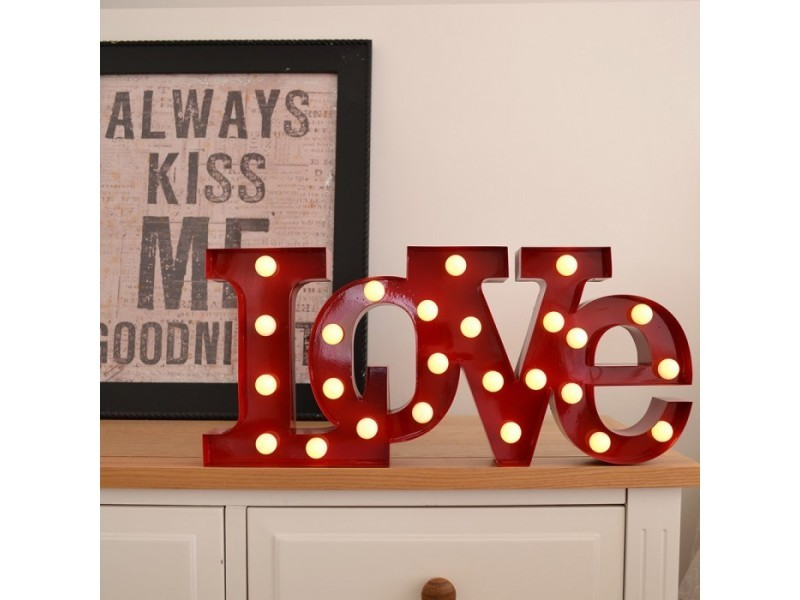 Lampe glamour love rouge