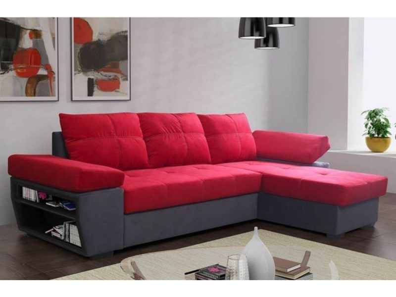 canap d 39 angle gigogne convertible rapido castle 140cm en microfibre rouge et anthracite. Black Bedroom Furniture Sets. Home Design Ideas