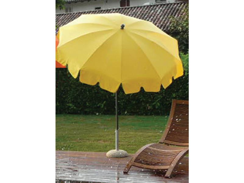 Parasol rond centré coloris jaune - dim : h 230 x d 200/10 cm - pegane -