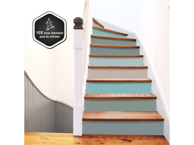 Contremarche escalier pvc mix pastel 15x100cm - lot de 5