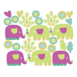 Stickers chambre bébé les petits éléphants