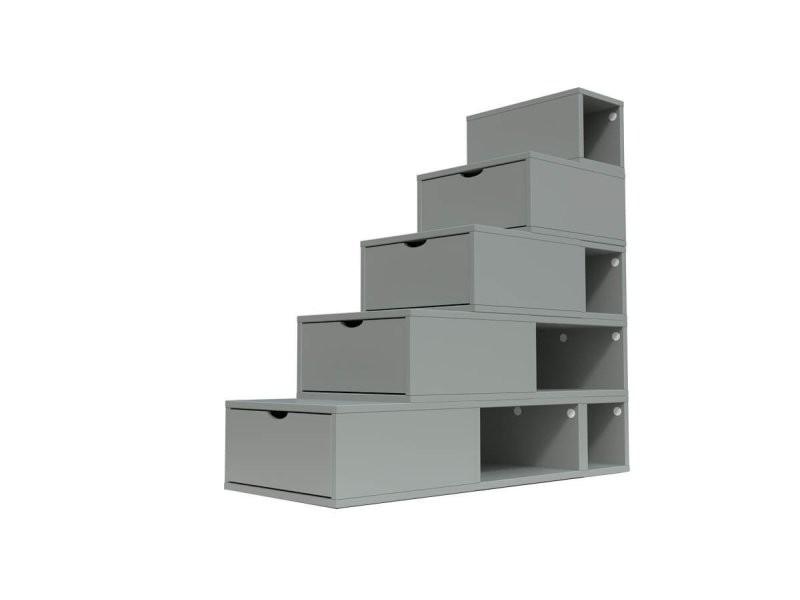 Escalier cube de rangement hauteur 125 cm gris ESC125-G